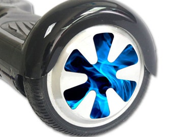 Blue Flames Skin Decal Wrap for Hoverboard Balance Board Scooter Wheels Blue Flames Decals Only