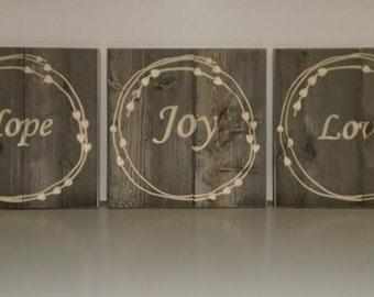 Hope, Love, Joy wood sign