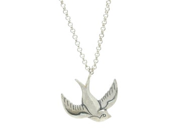 Silver Swallow Necklace, 925 Sterling Silver Tattoo Inspired Swallow Pendant, Bird Necklace