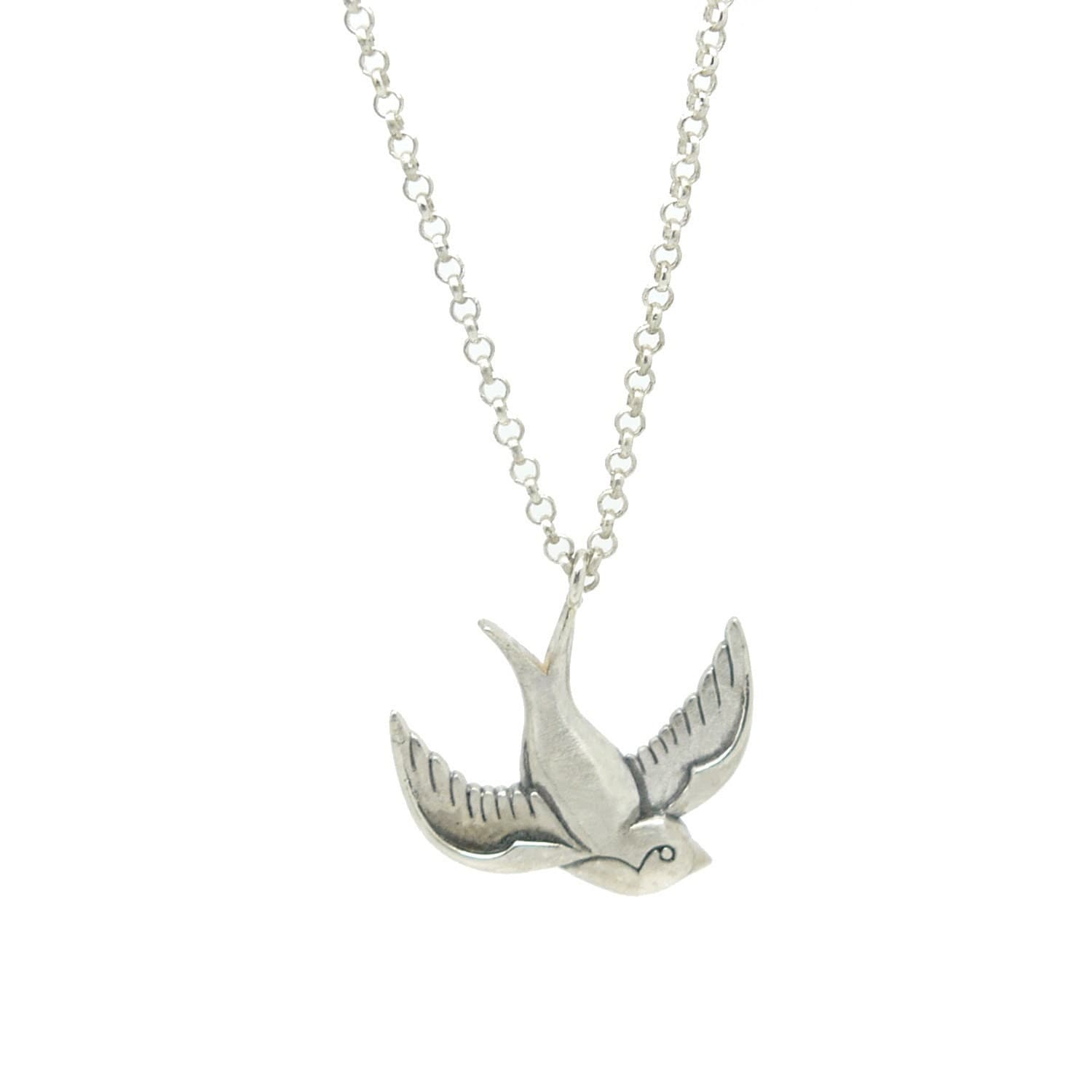 Silver swallow necklace 925 sterling silver tattoo inspired details swallows mozeypictures Gallery