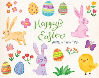 Watercolor Easter Clipart Rabbit Clip Art Bunny Egg