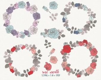 rose wreath, floral wreath, wedding wreath, rose frame
