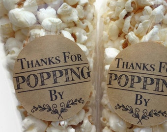 12 x Thanks for popping by stickers, Thanks for popping by label, popcorn favour stickers, popcorn favour labels, popcorn favours, 027