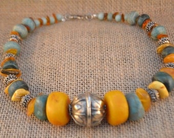 Amber and Amazonite Necklace