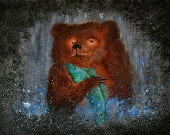 PRINT of my original painting of a bear and his fish