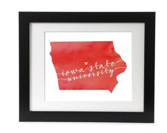 Digital Iowa State University Watercolor Print
