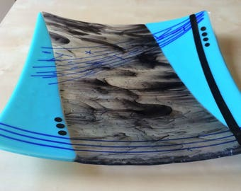 Turquoise and Smokey Black Dish, Fused Glass Platter, Hostess Gift, Housewarming gift, Home Décor, Square Serving Plate