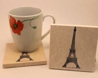 Stone Eiffel Tower Coasters- set of four- handmade- Paris- drink coaster-gift or home decor