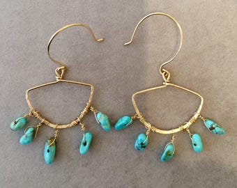 Byzantine hammered gold fill hoops with No.8 turquoise dangles.