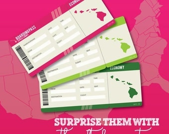 Printable Set of PDF Surprise Ticket for a Hawaii Vacation