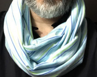 Blue and Green Stripe Infinity Scarf