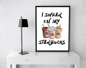 I Swear On My STARBUCKS Watercolour, Art Print, Black, gold, COFFEE, Barista, Costa, Watercolor, Fashion Illustration, couture