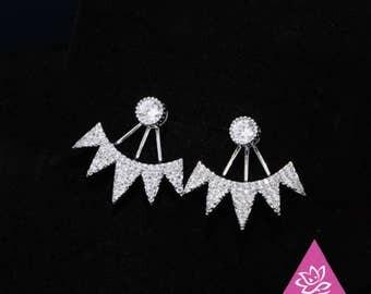 ear massive round jacket front and rear mountain art CZ/ears/Silver earrings 925 rhodium 18 k geometric minimalist hypoallergenic