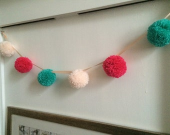 Pink, teal and blush pom pom garland approx 1 metre