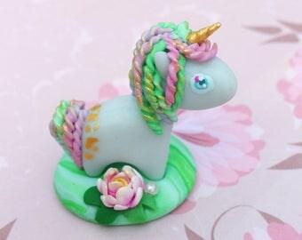 OOAK unicorn lotus koi pond - figurine