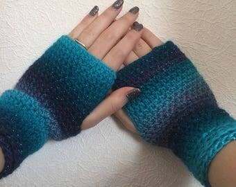Blue Fingerless Crochet Gloves/wrist warmers/ arm warmers