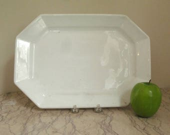 antique French octagonal porcelain platter