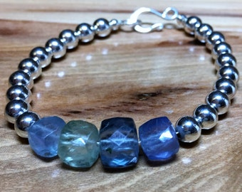 Sterling silver and Fluorite faceted aqua and green gemstones