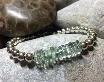 Sterling silver bracelet//Green Amethyst bracelet//Sterling Silver beaded bracelet