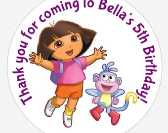 "Dora the Explorer 3"" Personalized Stickers Birthday Party"