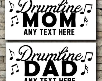 Drumline Mom/ Drumline Dad/vinyl car decal/Personalized decal/Drum line/music notes/marching band/drummer/percussion/personalize