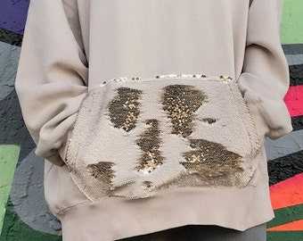 Tan sequin sweatshirt