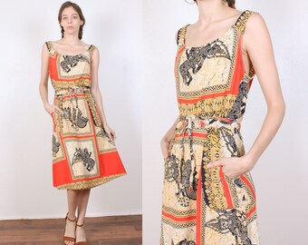 Vintage Boho Wrap Dress // 90s Midi Ethnic Patterned Pocket Dress - Medium