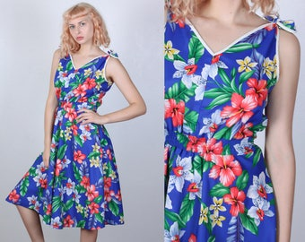 70s Hawaiian Sundress // Vintage Boho Blue Floral Sun Dress Pocket Knee Length Midi - Large