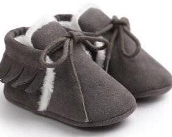 Charcoal fur booties