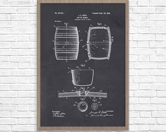 Beer Keg Patent Poster, Bar Art, Patent Print, Patent Art, Beer Brewing, Beer Wall Decor, Wall Art, Home Decor