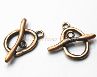2 Sets Nickel Free Antique Copper Bronze Toggle Clasps, 15mmx20mm Copper Beads Findings,Jewelry Findings, Beading Suppliers