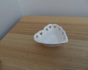 White China Heart Dish