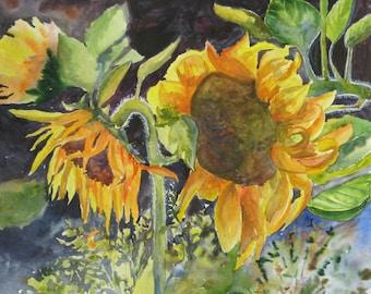 Sunflower watercolor Original Painting Sunflower wall art Garden flowers Watercolor original Painting floral Watercolor flowers Wall art