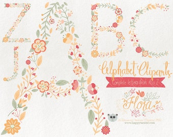 Flowers Clipart 80% OFF! - Alphabet Clipart Letters Vector Graphics Clip Art PNG Flowers Floral 02 Yellow Peach Coral