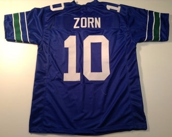 Seattle Seahawks Jim Zorn UNSIGNED CUSTOM Made Blue Jersey