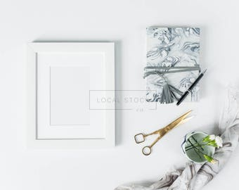 White Frame Mockup w/ Marble Notebook, Marble Linen, Gold Scissors, Flatlay Mockup, Styled Stock Photography, Instagram Styled Photo