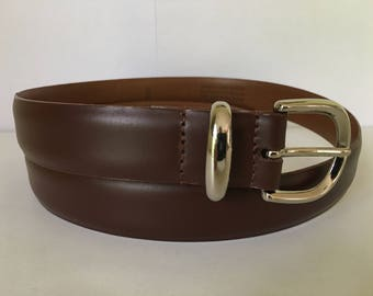 """Vintage quality handcrafted USA men's stitched brown leather belt made USA size 36"""" solid brass buckle ."""