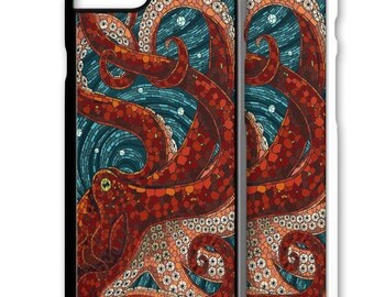 Octopus Art Mosaic Iphone Case 5 6 7 Galaxy S4 S5 S6 S7 Cover 5S SE Plus cell phone case