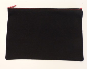 Black with red zipper pouch