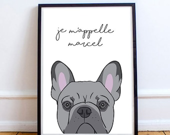 French Bulldog Print, Personalised Print, Gift for Her, French Print, Dog Name Print