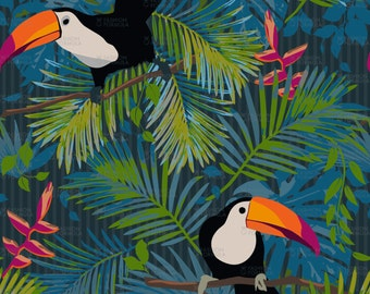 Colourful Rainforest Toucans Fabric by mariafaithgarcia