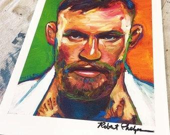 Conor McGregor MMA UFC Art Print by Robert Phelps, UFC art, Mma art, Conor Mcgregor art print, fight art, Irish art, Celtic art