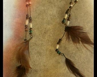 Vintage boho feather earrings