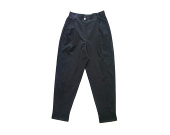Vintage Signe Incognito Woven by Dechamps Super 100s black pants women 100% pure new wool size 36