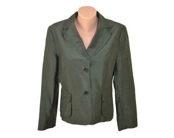 Vintage Oui women blazer green jacket 100% silk