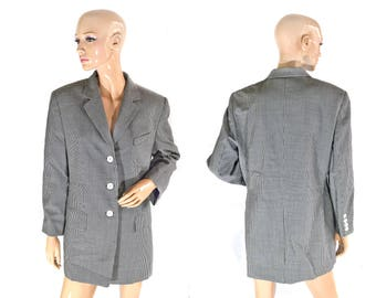 Vintage Betty Barclay women virgin wool blazer checket black and white