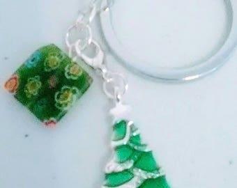 Christmas tree and millifiori beaded chain keychain
