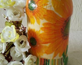 decoupage up-cycled glass jar vase