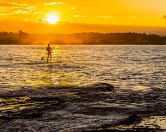 Paddleboard in an Australian Ocean Sunset - Photography Print
