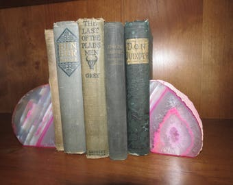 Small pink dyed bookends